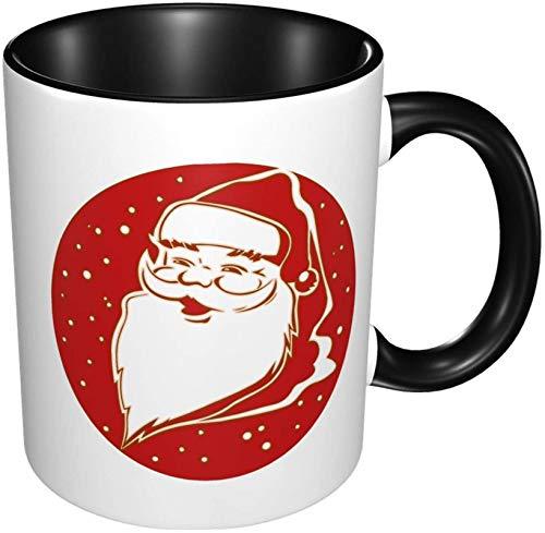 Taza de café de porcelana de Papá Noel, tazas coloridas con mango de cerámica para capuchino, té, cacao y cereales, negro