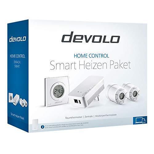 devolo Home Control Smart Heizen Paket (Funk Heizungssteuerung, Smarthome Thermostat, Z-Wave Hausautomation, Haussteuerung per iOS/Android App, Smart Home Aktor, einfache Installation) –weiß
