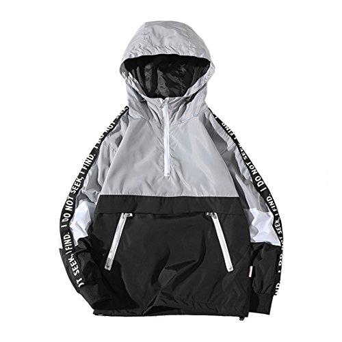 Hzcx Fashion Mens Pullover Hooded Waterproof Lightweight Windbreaker Jackets(GREY,M)