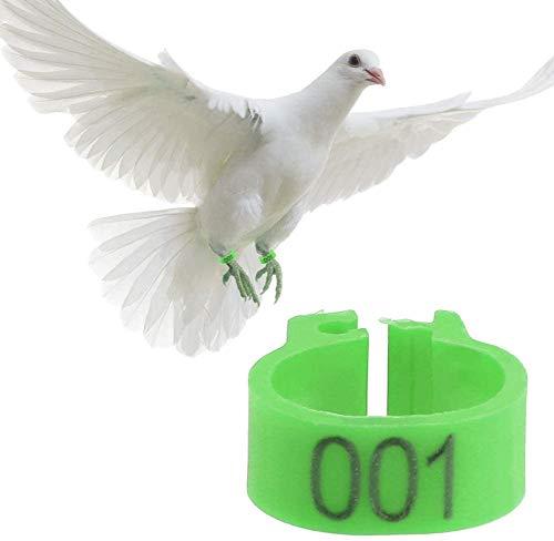 6 Kleuren 100 Stks/Tas 8 MM 001-100 Genummerde Plastic Vogelbeen Bands Ringen Hen Duif Been Gevogelte Duif Vogelkuikens Papegaai Clip Ringen Band, Groen