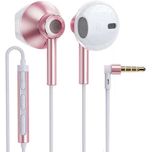 Linklike Quad Dynamic Drivers Air-Flow Deep Bass Half in-Ear Headphones with Microphone, Volume Control, Noise Isolating Lightweight 3.5mm Wired Earphones for Work, Commute, Sports (Rose Gold/White)