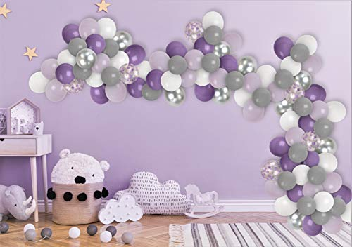 Elephant Baby Shower Decorations Grey Purple Balloon Garland Kit White Purple Silver Confetti Balloons for Engagement Bridal Shower Party Birthday Elephant Gender Reveal Decorations