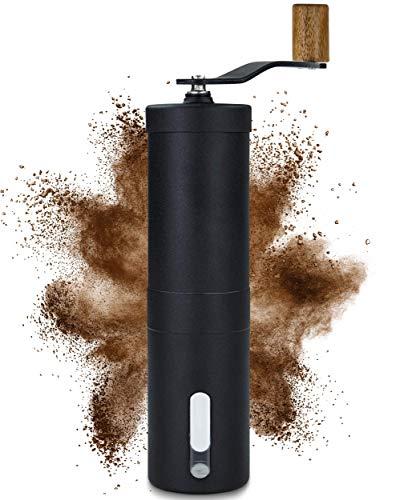 Lambda Coffee® Kaffeemühle manuell mit Keramikmahlwerk und Holz | Kaffeemühle Hand - Handkaffeemühle aus Edelstahl | Espressomühle | Präzise Mahlgradeinstellung stufenlos | Manuelle Kaffeemühlen