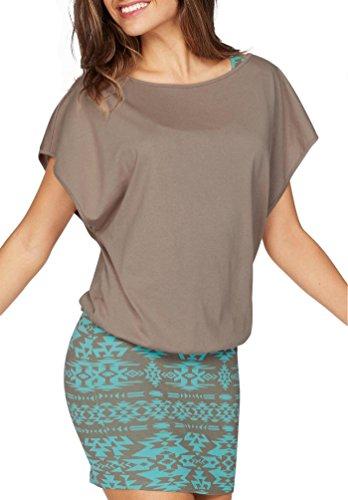 Jusfitsu Damen Ohne Arm Kleid Aus Oversize Shirt 2-in-1(Set 2 tlg) Sommer Minikleid Standkleid Taupe-Türkis S