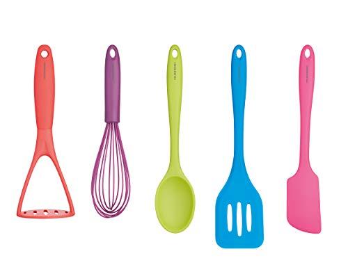KitchenCraft CWBRTOOLS5PC Set di utensili da cucina in silicone, Multicolore