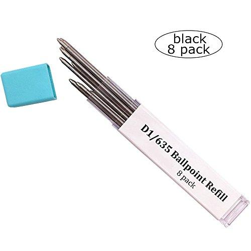 Ballpoint Pen Metal Mini Refill D1/635 Refill- Medium Point Refill for Multifunction Pen,Mini Pen Compact Pen(Black ink 8 pack)