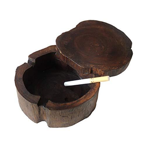 JULAKE Wooden Cigarette Ashtray, Handmade Vintage Original Antique Wooden Cigarette Ash Tray with Winproof Lid, Ashtray for Indoor Home Bar, Large