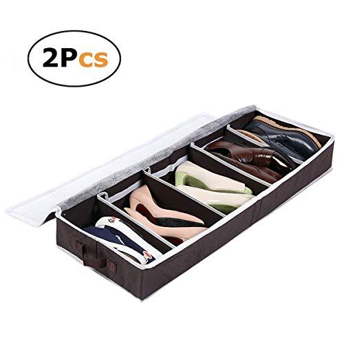 pet-lifeeling Schuhe Organizer unter dem Bett faltbar Aufbewahrungstasche mit Sichtfenster staubdichten Deckel 5Fach 2Stück