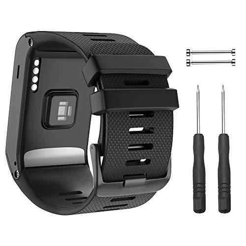 NotoCity Armband für Garmin Vivoactive HR Sport GPS Smartwatch,Premium Silikon Quickfit Armbänder Kompatibel mit Garmin Vivoactive HR,Mehrfache Farben (Schwarz)