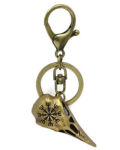 Crow King - Llavero con brújula Vegvísir y simbología vikinga, cuervo de Odín de metal color bronce envejecido, Mjolnir, nudo de la muerte, talismán nórdico, escandinavo, celta, sajón