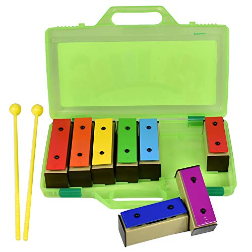 ENNBOM Xylophone Glockenspiel 8 Notes Chromatic Resonator Bells with Green Case