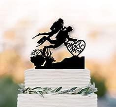 RLIQUMQ Scuba Divers wedding cake topper Mr and Mrs undersea Cake Topper,Scuba diving cake topper hear cake décor