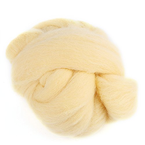 Felting Wool, Eco-friendly Wool Roving Needle Felting Wool Set of 8 Colors Spinning Wool Tool for Clothes Decorating(Cream)