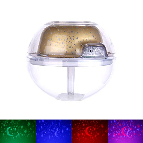 Humidificador De Proyección De Cristal USB Creativo De Gran Capacidad Hogar Colorido Proyector De Colores Purificador De Aire Humidificador Night Light Sky Lite Starry Gift,Oro