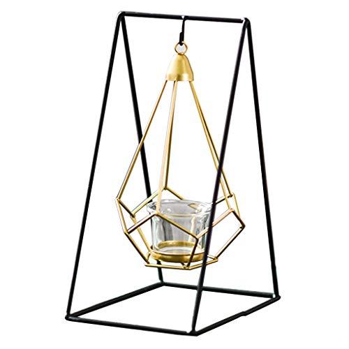 OUMIFA Candelero Gabinete de Vino casero geométrico Simple del candelero del Hierro labrado de la Manera del candelero del Metal Candelabros de pies Altos (Color : B)