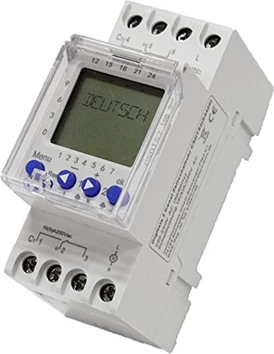 Digitale Zeitschaltuhr 2 Kanal CSDTS2, 230 V, DIN Hutschiene, mit deutschem Menü und Impuls und Zyklus Funktion