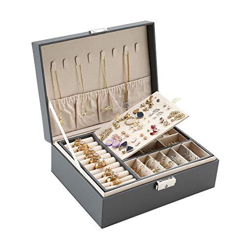 ZUZOOQ Organizador de joyas grande de dos capas para almacenamiento de joyas con 74 agujeros y cerradura de piel sintética lisa, regalo para niñas o mujeres (gris)