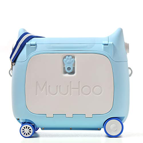 ANIMOR Kids Travel Partner Ride-On Suitcase and Carry-On Luggage, Classic Rolling Luggage (Penguin Blue)