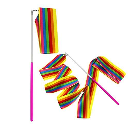 MUROAD 10 Piezas 2 M de Largo Gimnasias Rítmicas Intenso Cinta con una da Vueltas Dance Porra Vara para Niños Bailarinas de Danza Colores Surtidos (Arco Iris Colores)