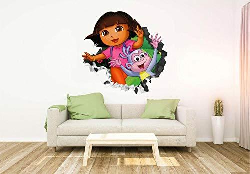 QAW Pegatinas de pared Dora la exploradora y botas de vinilo personalizado de pared de cuero
