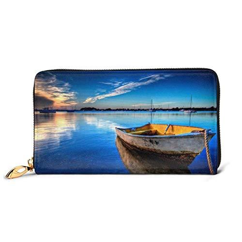 Barco en agua azul impreso cuero cartera mujeres cremallera bolso embrague bolsa viaje tarjeta de crédito titular monedero