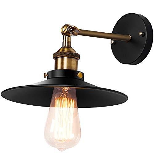 lampada muro vintage SISVIV Applique Vintage Industriale Lampada da Parete Retro Interno Lampada da Muro in Metallo Regolabile 180 ° per Cucina Ristorante Corridoio E27 Nero