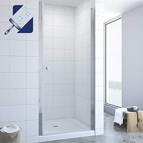 AQUABATOS® 90x195 cm Nischentür Dusche Duschtür in Nische Duschabtrennung Pendeltür Drehtür Schwingtür Duschwand Glas aus 6mm ESG Echtglas mit Nano Beschichtung