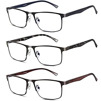 3 Pack Business Blue light Blocking Reading Glasses for Men 0.75 Metal Readers