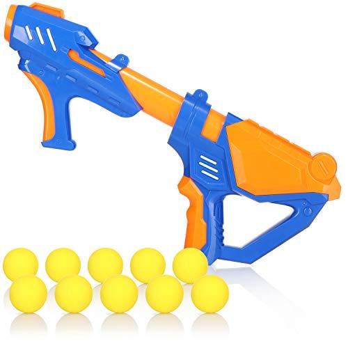 com-four® Pistola de Pelotas - Pistola de Pelotas de Espuma - Pistola de Juguete con Pelotas Blandas - Pistola de Juguete con Mecanismo de Bomba de Aire comprimido (01 Piezas - Azul/Naranja)