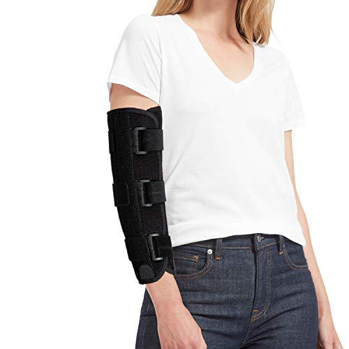 Elbow Splint for Cubital Tunnel Syndrome Ulnar Nerve Entrapment Adjustable Elbow Brace Immobilizer Stabilizer Tennis and Tendonitis for Woman and Men at Night Sleeping,Fits Left or Right Arm (L/XL)