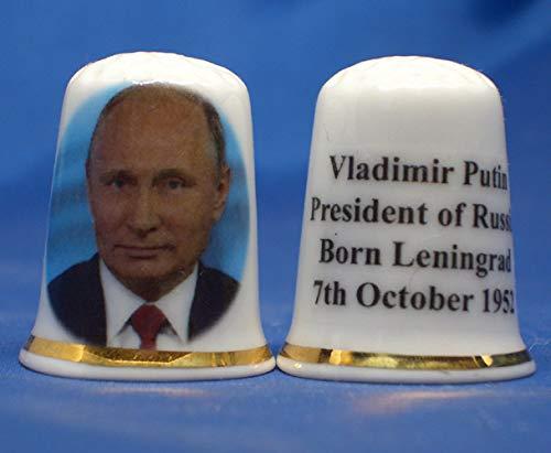 China Fingerhut zum Sammeln, Wladamir Putin, Präsident Russland, in Geschenkverpackung