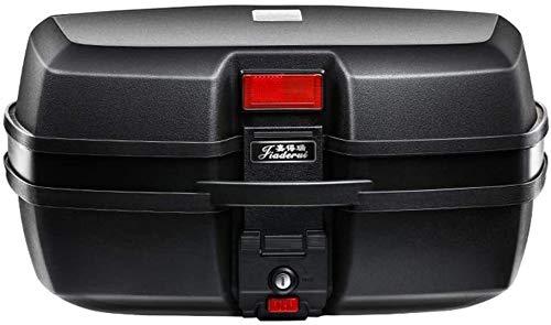 Caja de la cola de la motocicleta scooter de 45L Top Case Moto Pieza for equipaje portador de soportes de tronco w / Respaldo (puede sostener 2 Cascos) a prueba de agua, 2 llaves, Color: Rojo Prohibid
