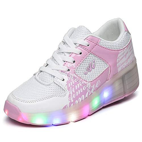 Good-time Kinder Junge Mädchen Led Schuhe Sneaker Mit Rollen 7 Farbe Farbwechsel Wheels Skate Schuhe(Weiß Pink,29 EU)