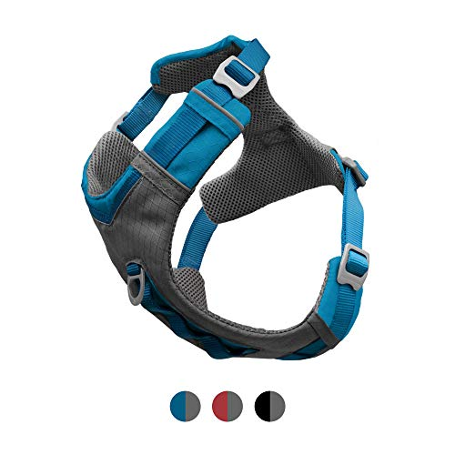 Kurgo Dog Harness for Medium, & Small Active Dogs, Pet Hiking Harness for Running & Walking, Everyday Harnesses for Pets, Reflective, Journey Air, Blue/Grey 2018, Large