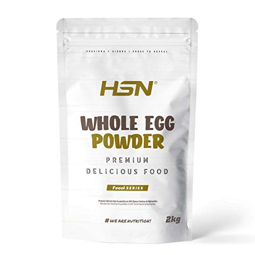 Proteína de Huevo Entero en Polvo de HSN | Para Vegetarianos | Sustituto del Suero de Leche | 100% Albúmina de Clara de Huevo + Yema | Apto para Intolerantes a la lactosa, Sin Gluten, Sin Soja, 2Kg