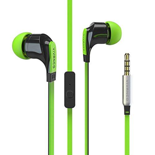 Vivanco Talk In-Ear Stereo Headset mit Mikrofon, Kopfhörer, Ohrhörer für Smartphone, Handy, MP3-Player, mit Fernbedienung und 3,5 mm Klinkenstecker grün