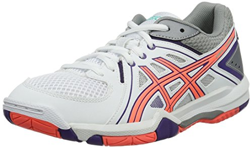 ASICS Damen Gel-Task W Volleyballschuhe, Weiß (White/Flash Coral/Parachute Purple), 38 EU