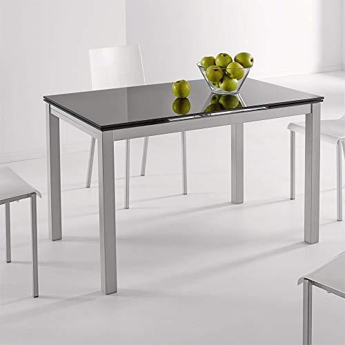 fanmuebles - Mesa Cocina Cristal Extensible Katy - Negro, 100 x 60 cm.