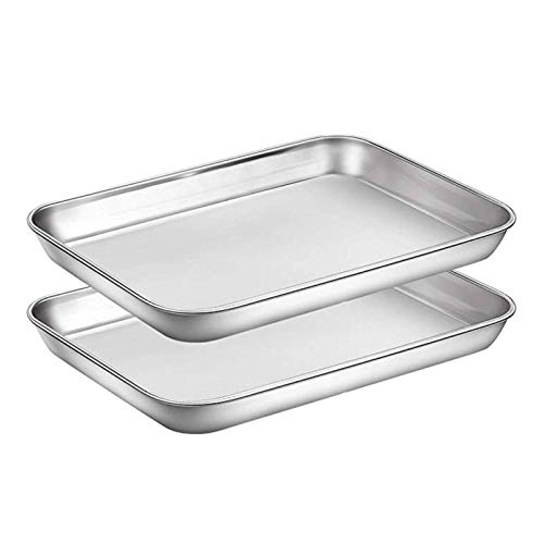 NC 2 Pcs Baking Sheets Set Chef Cookie Sheets Stainless Steel Baking Pans Toaster Oven Tray Pans Easy Clean Baking Dishes Kitchen S