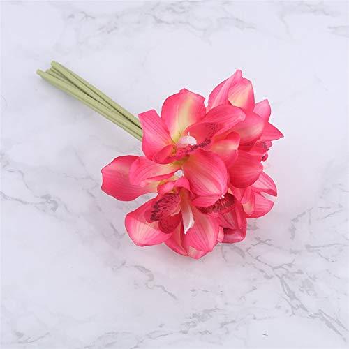 Wunderschönen Weiße Orchidee Simulation Blume echte Blume Orchidee Brautstrauß Hochzeit Blumendekoration Tischdecke Layout Hausgarten dekorieren (Color : Rose red)