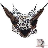 LeerKing Hamaca Huron Cama para Cobayas Cama Colgante Hámster con 3 Capas de Laberinto Geométrico al Durmiendo y Juguete, Leopardo & Blanco
