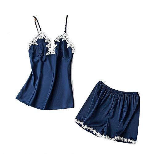 Damen Pyjama Pure Colour Kleidung Anzug für Mädchen und Frauen Zweiteiliger Kurzarm Schlafanzug