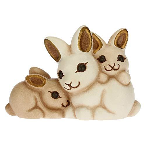 THUN - Statuina Presepe Gruppo di Conigli - Decorazioni Natale Casa - Linea Presepe Classico - Ceramica - 6,2 x 3,7 x 4,2 h cm