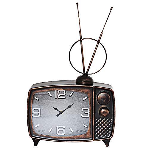 ufengke Reloj de Mesa Bronce Decorativo Vintage 3D Reloj Quartz Diseño TV de Metal con Pantalla Analógica 49 * 30 * 8 cm