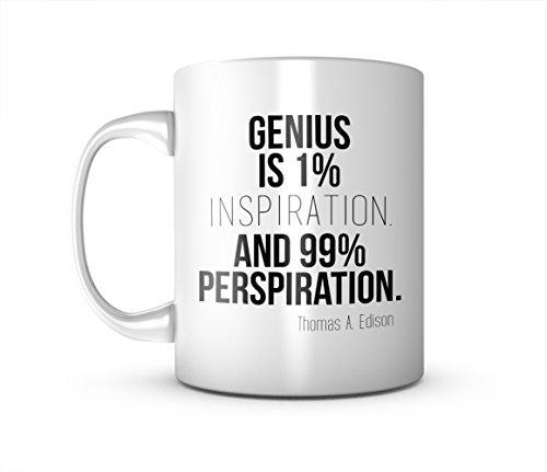 Genius Is 1% Inspiration Thomas Edison Zitat Keramik Tasse Kaffee Tee Becher Mug