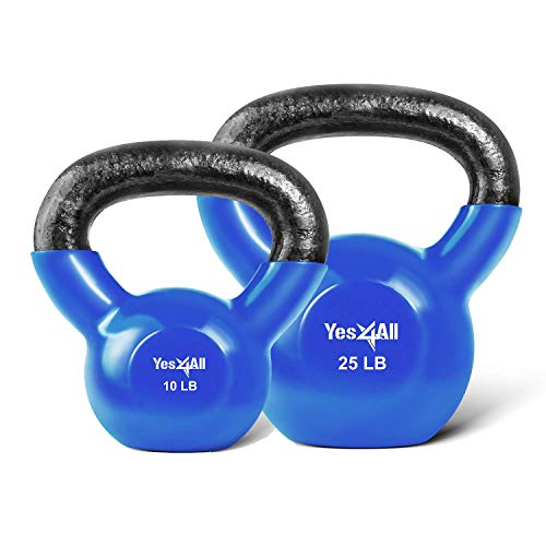 Yes4All Combo Vinyl Coated Kettlebell Weight Sets – Great for Full Body Workout and Strength Training – Vinyl Kettlebells 10 & 25lbs