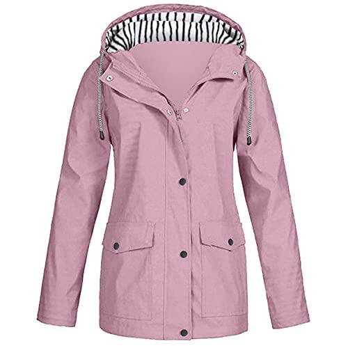 Chaquetas de mujer Chaqueta de lluvia sólida al aire libre más tamaño impermeable con capucha, Rosa1, 3XL