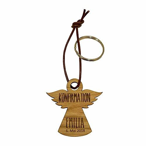 Holz Schlüsselanhänger Engel Konfirmation/Firmung/Kommunion - personalisiert - Glücksbringer - Anhänger - Geschenk zur Konfirmation - Geschenkidee zur Kommunion (Engel, Name/Datum)