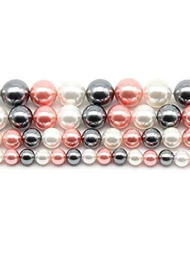 Perlas redondas de oro rosa natural de agua dulce para hacer joyas DIY pulsera collar 45 pulgadas hebras oro rosa 6 mm aprox. 63 cuentas