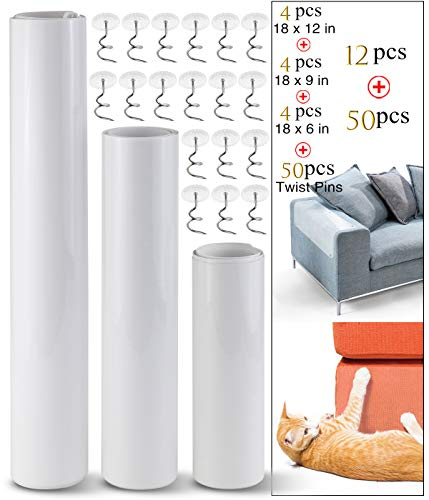Neworkg 12 Pack Cat Furniture Protector, 3 Sizes Clear Self-Adhesive Pet Scratch Guards with Free Pins Cat Dog Claw Guards Pads for Upholstery, Sofa, Door, Wall, Mattress, Car Seat Protector Pad
